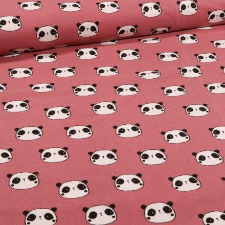 Tissu Flanelle de coton Têtes de pandas sur fond Vieux rose - Par 10 cm