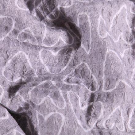 Tissu Nid d'abeille imprimé Cœurs blancs sur fond Gris - Par 10 cm
