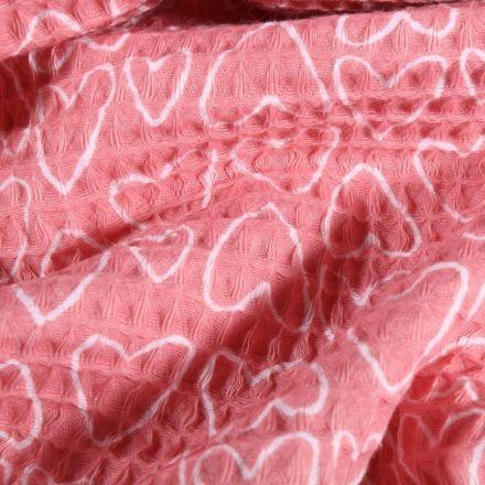 Tissu Nid d'abeille imprimé Cœurs blancs sur fond Rose - Par 10 cm