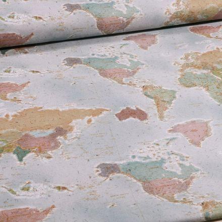 Tissu Toile Coton Carte du monde sur fond Bleu clair - Par 10 cm