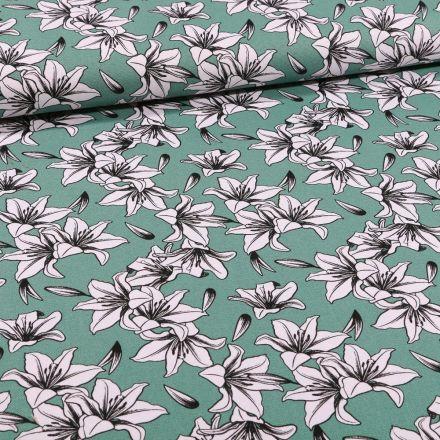 Tissu Toile Coton Lys blancs et noirs sur fond Vert - Par 10 cm