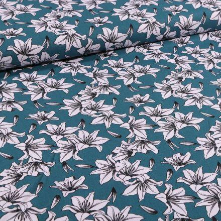 Tissu Toile Coton Lys blancs et noirs sur fond Bleu pétrole - Par 10 cm