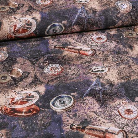 Tissu Toile Coton Explorateur sur fond Bleu foncé - Par 10 cm