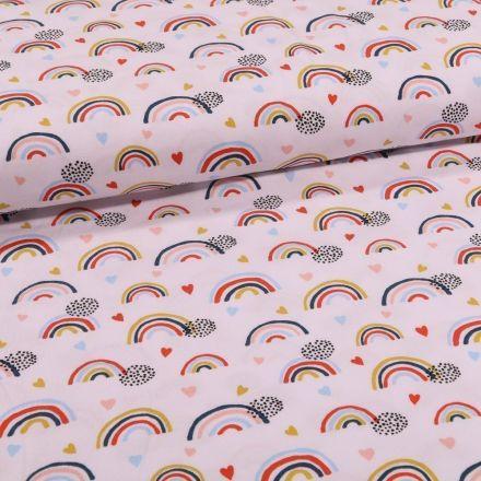 Tissu Jersey Coton Bio Arc en ciel sur fond Blanc - Par 10 cm