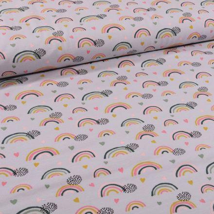Tissu Jersey Coton Bio Arc en ciel sur fond Gris - Par 10 cm