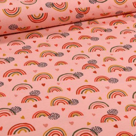 Tissu Jersey Coton Bio Arc en ciel sur fond Rose saumon - Par 10 cm