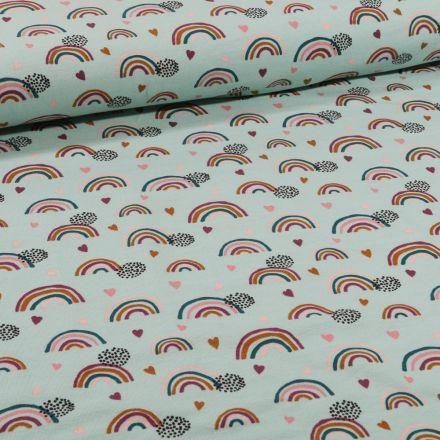 Tissu Jersey Coton Bio Arc en ciel sur fond Vert menthe - Par 10 cm