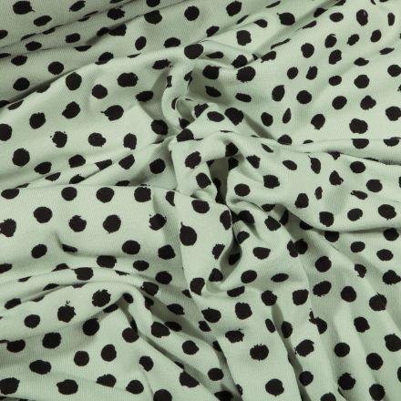 Tissu Jersey Coton Bio Pois déstructurés noirs sur fond Vert menthe - Par 10 cm