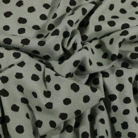 Tissu Jersey Coton Bio Pois déstructurés noirs sur fond Vert d'eau - Par 10 cm