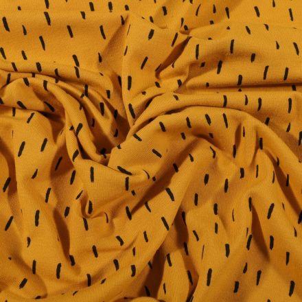 Tissu Jersey Coton Bio Pointillés noirs sur fond Jaune - Par 10 cm