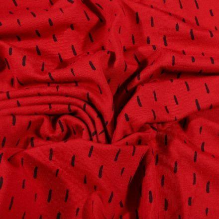 Tissu Jersey Coton Bio Pointillés noirs sur fond Rouge griotte - Par 10 cm