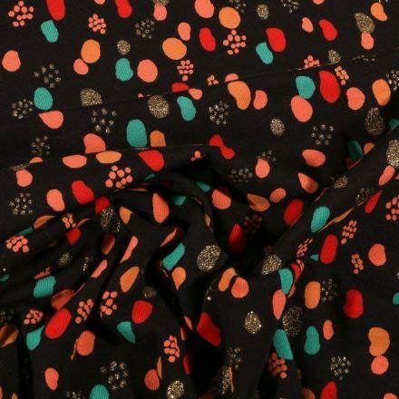 Tissu Jersey Coton Petits points et pois déstructuré pailleté sur fond Noir - Par 10 cm