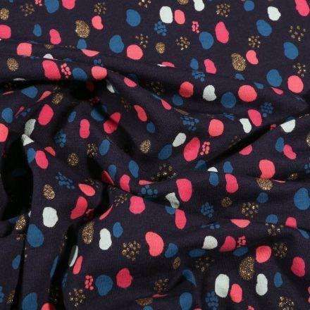 Tissu Jersey Coton Petits points et pois déstructuré pailleté sur fond Bleu marine - Par 10 cm