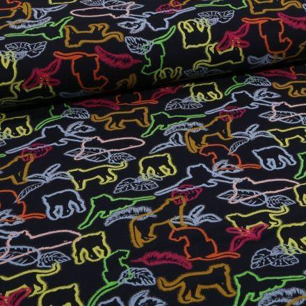 Tissu Jersey coton Pochoirs d'animaux jaunes rouges et oranges sur fond Noir - Par 10 cm