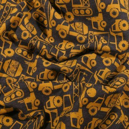 Tissu Jersey Coton envers gratté Camions grue sur fond Gris - Par 10 cm