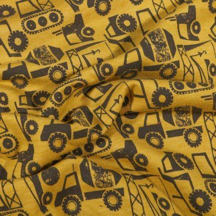 Tissu Jersey Coton envers gratté Camions grue sur fond Jaune - Par 10 cm