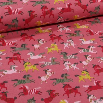 Tissu Jersey Coton Chevaux indiens sur fond Rose - Par 10 cm