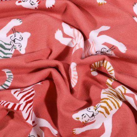 Tissu Jersey Coton Tigres colorés sur fond Vieux rose - Par 10 cm