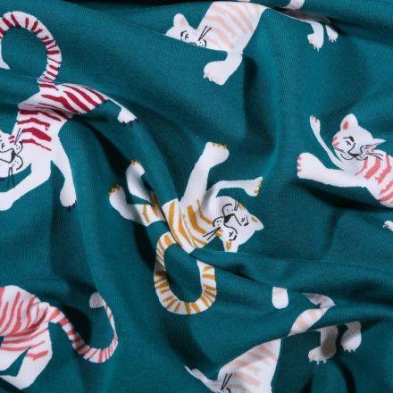 Tissu Jersey Coton Tigres colorés sur fond Bleu pétrole - Par 10 cm