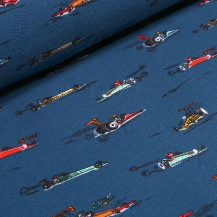 Tissu Jersey envers molletonné  Voitures Formule 1 sur fond Bleu marine - Par 10 cm