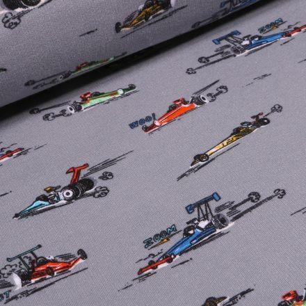 Tissu Jersey envers molletonné  Voitures Formule 1 sur fond Gris - Par 10 cm