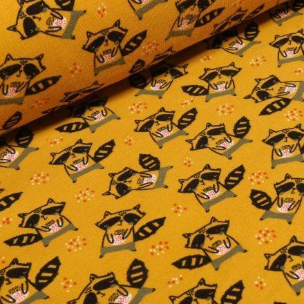 Tissu Jersey Coton Bio envers molletonné Raton laveur sur fond Jaune moutarde - Par 10 cm