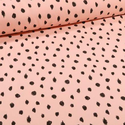 Tissu Sweat léger envers molletonné Bio Pois noirs sur fond Rose nude - Par 10 cm