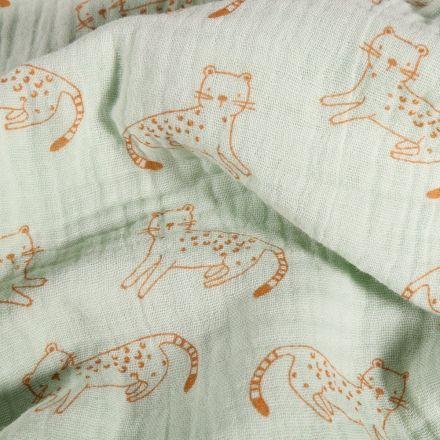 Tissu Double gaze Chats orange sur fond Vert menthe clair - Par 10 cm
