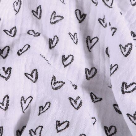 Tissu Double Gaze Cœurs dessinés  sur fond Blanc - Par 10 cm
