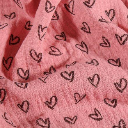 Tissu Double Gaze Cœurs dessinés sur fond Rose - Par 10 cm