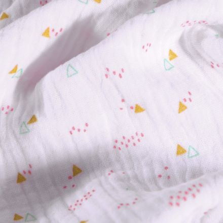 Tissu Double gaze Petits triangles moutarde et pois rose sur fond Blanc - Par 10 cm