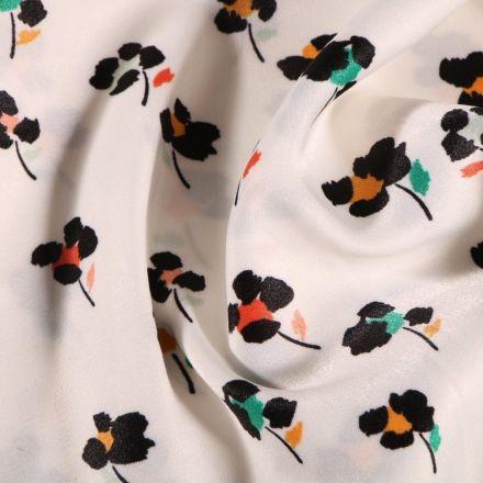 Tissu Satin imprimé Fleurs noires et colorés sur fond Blanc - Par 10 cm