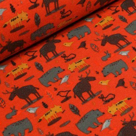 Tissu Sweat envers minky  Animaux de la forêt sur fond Orange - Par 10 cm