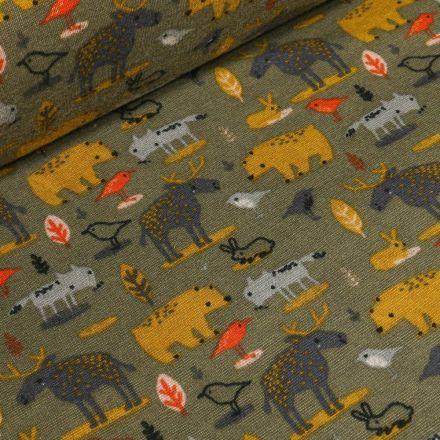 Tissu Sweat envers minky  Animaux de la forêt sur fond Vert kaki - Par 10 cm