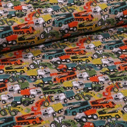 Tissu Jersey Coton Engins de chantier sur fond Beige - Par 10 cm