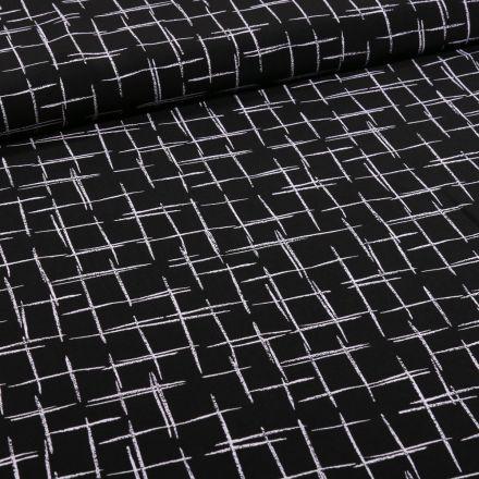 Tissu Satin imprimé Esquisse quadrillé sur fond Noir - Par 10 cm
