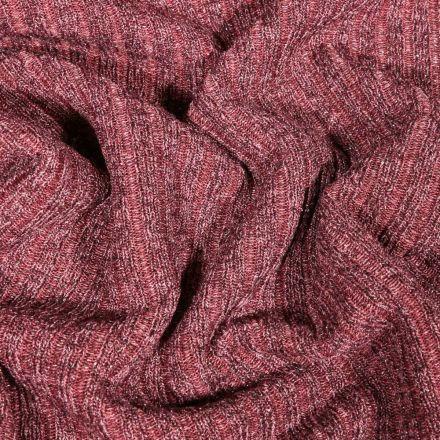 Tissu Maille côtelée lurex Vieux rose - Par 10 cm