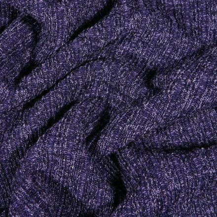 Tissu Maille côtelée lurex Bleu denim - Par 10 cm