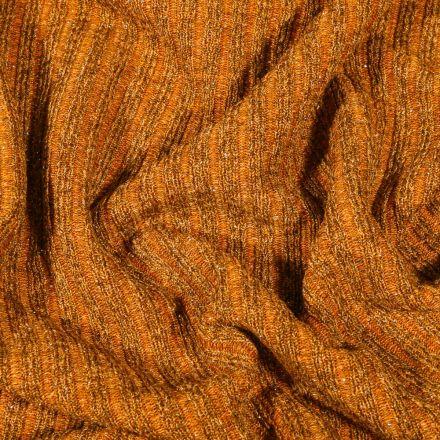 Tissu Maille côtelée lurex Jaune moutarde - Par 10 cm