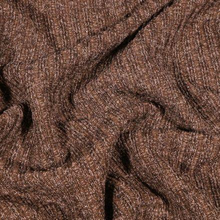 Tissu Maille côtelée lurex Taupe - Par 10 cm