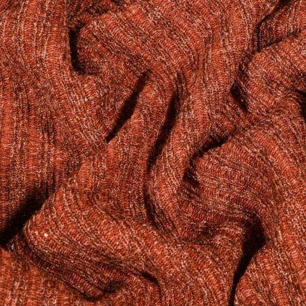 Tissu Maille côtelée lurex Rouille - Par 10 cm