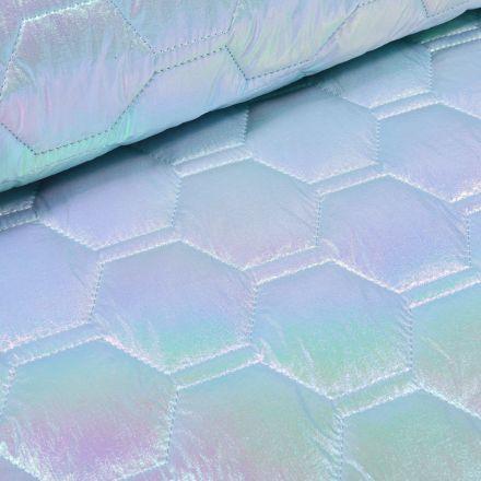 Tissu Doudoune matelassé Holographique sur fond Violet - Par 10 cm