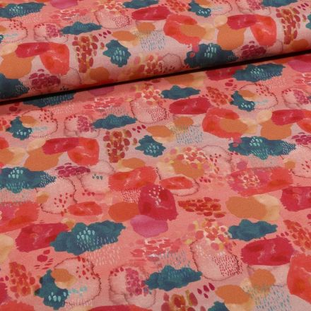 Tissu Toile Coton Nuages colorés sur fond Rose - Par 10 cm