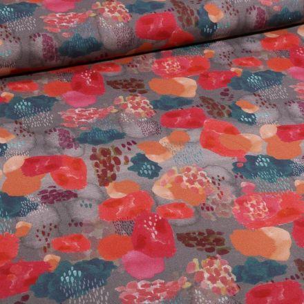 Tissu Toile Coton Nuages colorés sur fond Gris - Par 10 cm