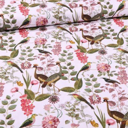 Tissu Toile Coton Grues et végétations sur fond Blanc - Par 10 cm