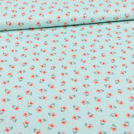 Tissu Coton imprimé Bio Petites fleurs sur fond Vert menthe - Par 10 cm