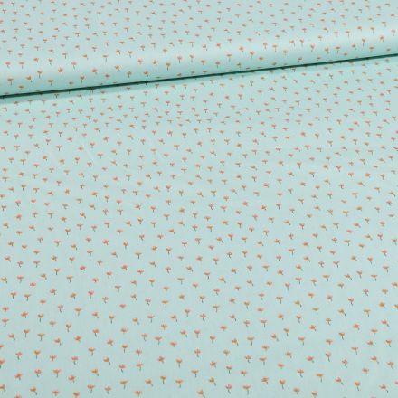 Tissu Coton imprimé Bio Mini coquelicots sur fond Vert menthe - Par 10 cm