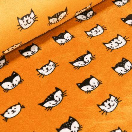 Tissu Jersey Velours Ultra doux Têtes de chats sur fond Jaune - Par 10 cm
