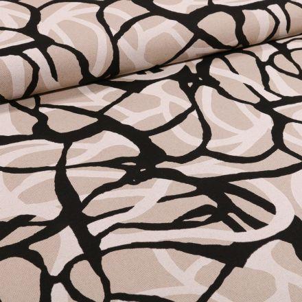 Tissu Toile Coton Formes abstraites noires et blanches sur fond Naturel - Par 10 cm