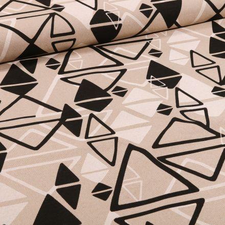 Tissu Toile Coton Triangles noirs et blancs sur fond Naturel - Par 10 cm